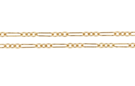 14Kt Gold Filled 7x2mm Flat Long and Short Chain - 5ft (2376-5)