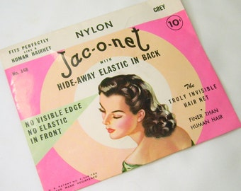 Vintage Jac-O-Net Human Hair Net No 158 Grey Original Package with 2 Nets