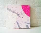 Original Painting - 10 x 10 Canvas - Original Abstract - Pink - White - Space
