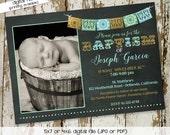 fiesta invitation baby boy shower baptism christening bridal shower Papel Picado chalkboard rehearsal dinner engagement invitation item 711