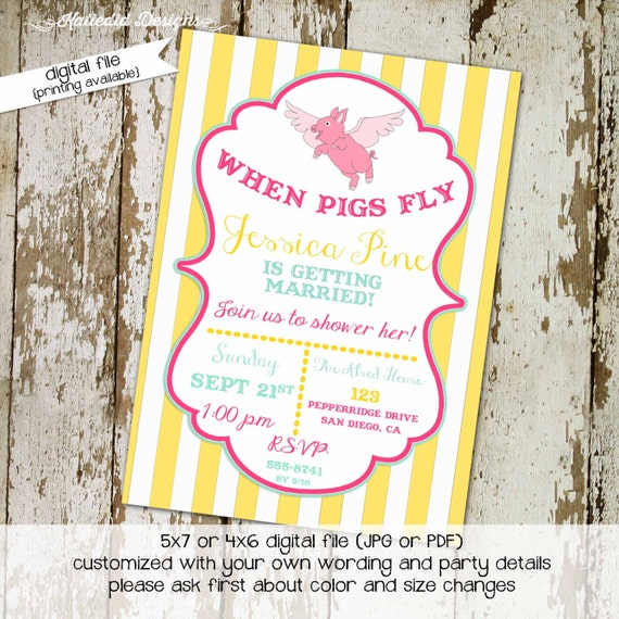 bridal shower invitation when pigs fly bachelorette party stripe mint pink rehearsal dinner engagement (item 321) shabby chic invitations