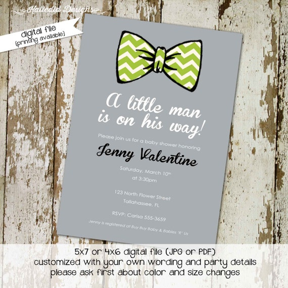 little man bow tie baby shower bow tie baptism diapers for dad co-ed baby shower gray baby blue invitation gay couple 1266 Katiedid Designs