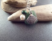 Sea Shell Necklace, Scottish Sea Glass Jewelry, Green and Silver Beach Glass, Pearl Necklace, Beach Jewelry, Gift from Scotland, Clam Shell