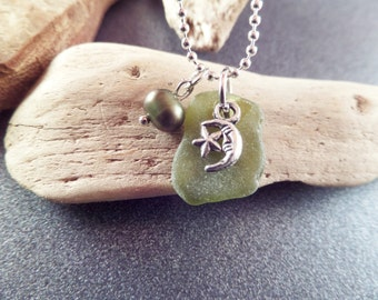 Moon and Star Necklace with Olive Green Scottish Sea Glass Scotland Jewelry Half Moon Wicca