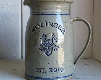 Personalized Stoneware Wedding Pitcher