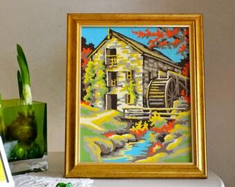 Vintage Paint by Number Classic Waterwheel Strange Acid Colors