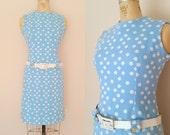 1960s Mod Blue and White Polka Dot Dress // DOTTY'S DRESS // Medium