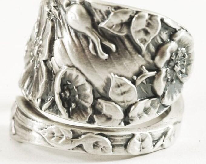 Wild Rose Ring, Sterling Silver Spoon Ring, Rose Flower Ring, Silver Rose Ring, Victorian Rose, Rosebud, Adjustable Size, Gardener Gift, 547