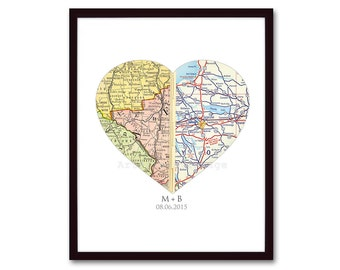 Unique Engagement Gift, Map Heart Print, Wedding Gift, For Couple, Personalized Map Art, Valentines Gift