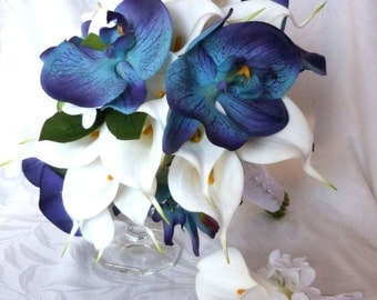 Blue orchid white calla lily bridal bouquet and boutonniere set