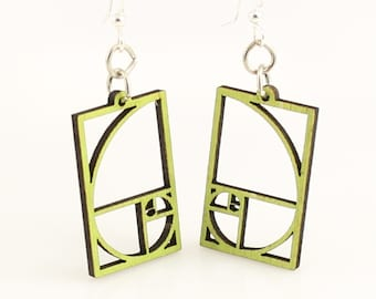 The Golden Ratio Blossom - Wood Earrings