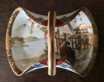 Vintage Asian Ceramic Decorative Basket Plate Dish Catch-All Jewellery circa 1950-60's / English Shop