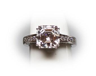 Sterling Silver Asscher Cut Three carat CZ Center Stone Engagment Ring