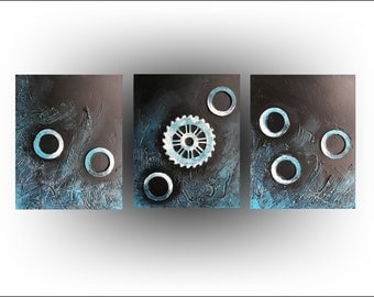 UFO - Triptych - Abstract - Turquoise Blue painting Art - Original painting Canvas - 20 x 48 -Skye Taylor Fine art