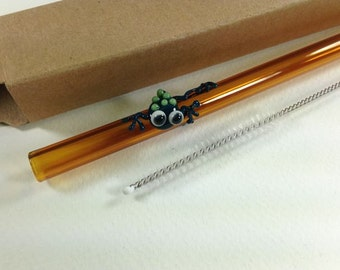 Teal Frog on Amber Glass Straw- FREE Gift Box and Cleaning Brush