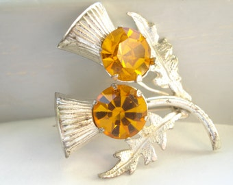 Ward Bros Scottish Sterling Brooch Amber Glass 2 Thistle WBs Vintage