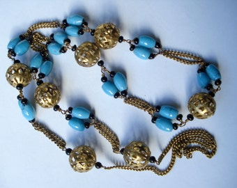 Art Deco Necklace Turquoise Glassand Filigree Beads Long 1930's