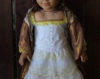 1870's style summer dress and shawl for 18in American girl dolls