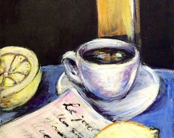Coffee Cup Painting with lemons original painting on wood  6'' x 6""