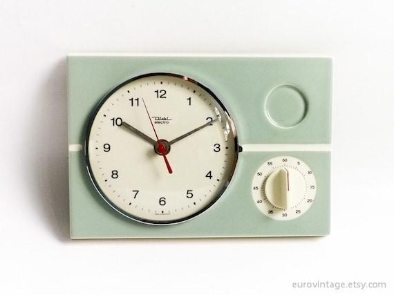 Vintage Kitchen Ceramic Wall Clock w Timer by EuroVintage ...