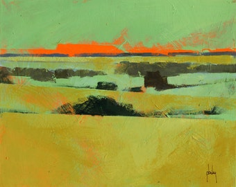 Original abstract landscape painting - Emerald and gold landscape