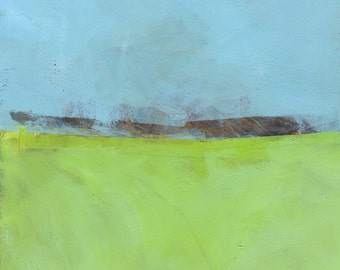 Original abstract minimalist landscape painting - Low distant hills