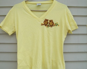 70s Sunny Yellow Embroidered Owls Tee Owl T-Shirt Retro Tee