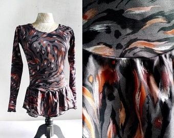 vintage fancy dancer slate grey and flame leopard top / size XS SM