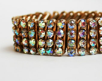 Vintage Aurora Borealis Rhinestone Expansion Bracelet Expandable Stretch
