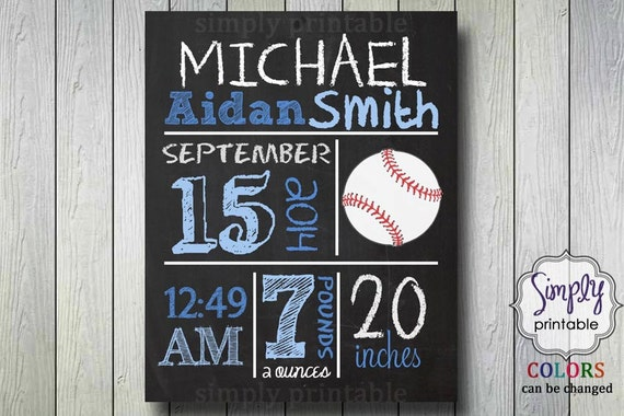 Baseball Birth Announcement 8x10 Printable Nursery Wall Art Printable, Chalkboard