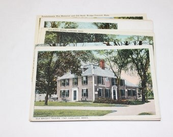 10 Vintage Concord Massachusetts Postcards Blank - Wedding Guestbook