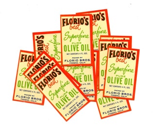 SALE  15 Vintage Florio's Olive Oil Labels