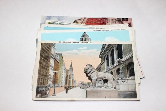 15 Vintage Chicago Illinois Postcards Used