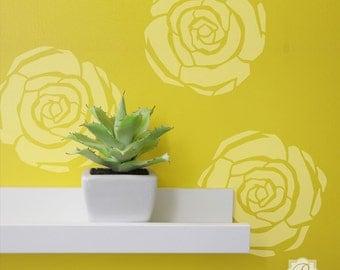Modern Deco Flower Stencil for Decorating Crafts and Colorful Wall Art