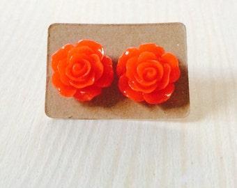 Bright red rose earrings