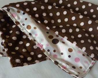 SALE! CUDDLE BLANKET. 15 inch. Brown and pink polka dotted white satin. Brown dotted minky.