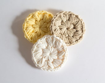 Face Scrubbies set of 3 crochet face scrubbies makeup remover cotton face scrubbies, eco friendly reusable facial rounds face cloth
