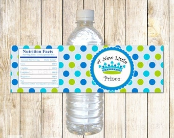 Prince Water Bottle Labels - Blue Green Polka Dots Baby Boy Shower Wrappers Printable INSTANT DOWNLOAD