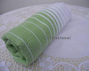Turkishtowel-Hand woven,medium weight,very soft,HEART pattern,Bath,Beach,Travel,Wedding Towel-Apple Green and White stripes