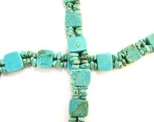 Square Turquoise Slider Beads with Turquoise Chips