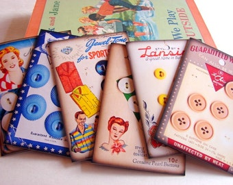 Sewing Note Card Set - Vintage Button Cards Seamstress Dressmaker Sew Lansing Miss America Prevue Movie Buttons - 6 Sm Greeting Cards