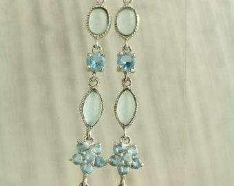 Sterling Silver Long Blue Stone Earrings Pierced Pretty open back design (ET536 )