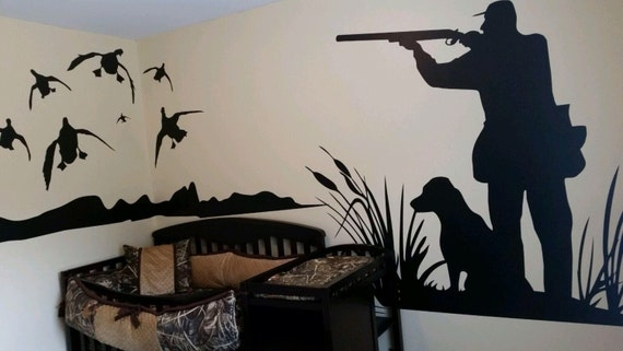 Mallard Duck Hunting Wall Decal  Large Hunter And Dog Duck Hunting  Boy  Girl Nursery Baby, Kids Room Decal, Bedroom, Living, Man Cave Part 42