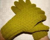 Hand knitted warm men gloves (olive color)