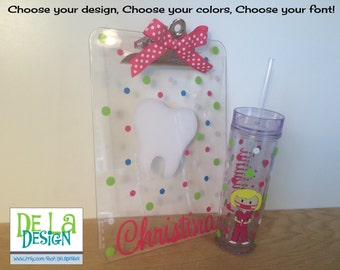 Gift set: Personalized with name drinkware or bottle and clipboard - Nurse, RN, Doctor, Technician, Dental hygienist, Vet, Teacher