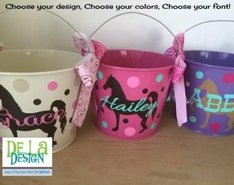 Personalized Easter basket, 5 quart metal bucket, name or monogram, horse design, Easter, Halloween, Baby, Birthday