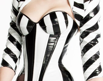 "Padded Pvc Overbust Striped Black & White Bustier 34B/32C 20"" for a 24-26 waist from Artifice"
