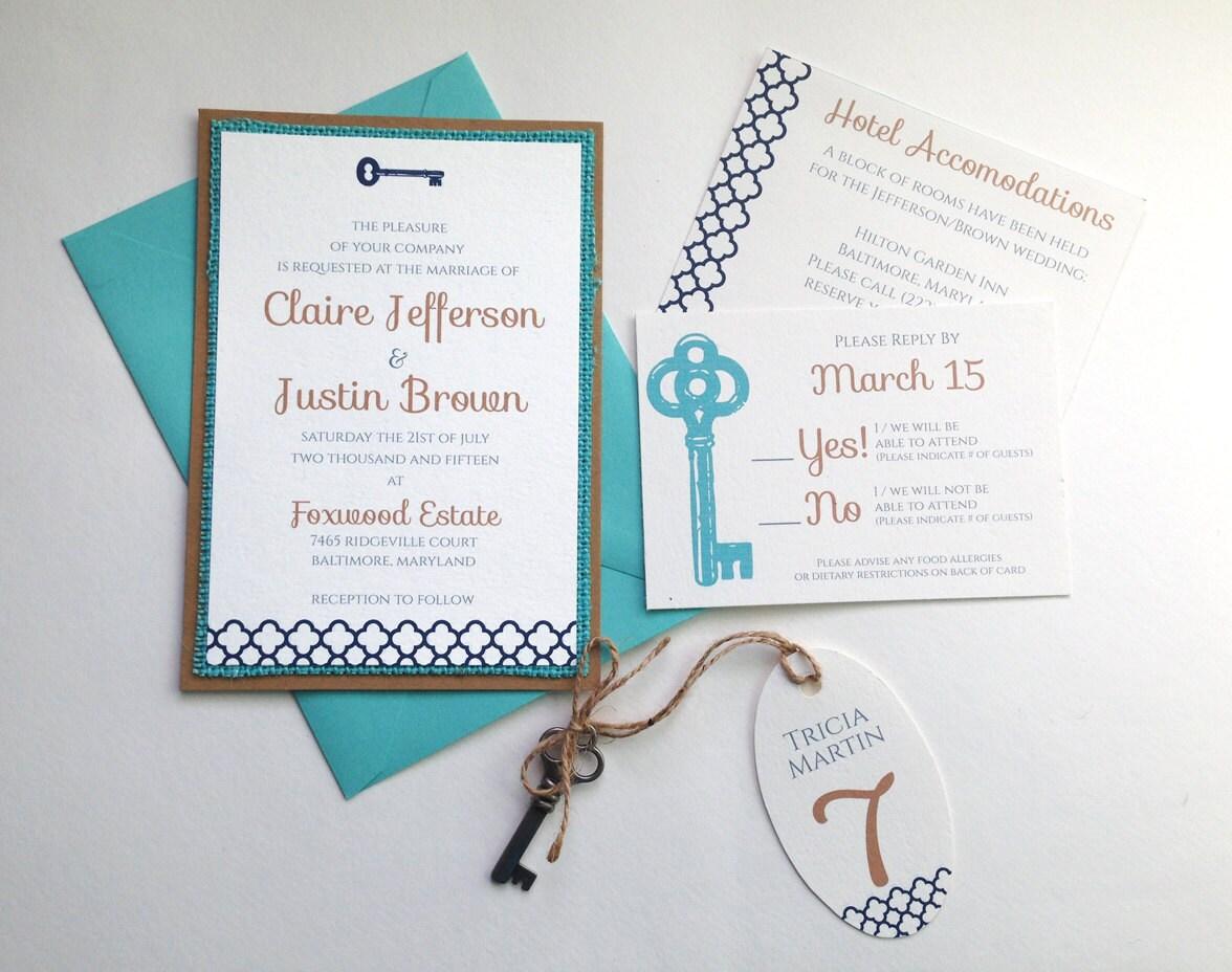Key Themed Wedding Invitations: Skeleton Key Wedding Invitations