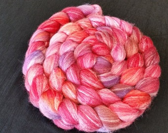 Hand Dyed Merino/Bamboo/Tussah Silk Top  -  50/25/25 - 4 ounces - Red and Red Orange with Pink and Purple Highlights