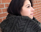 Olive Green Capelet in Wool - Chunky Aran Cables : Upcycled Recycled Repurposed Eco Friendly